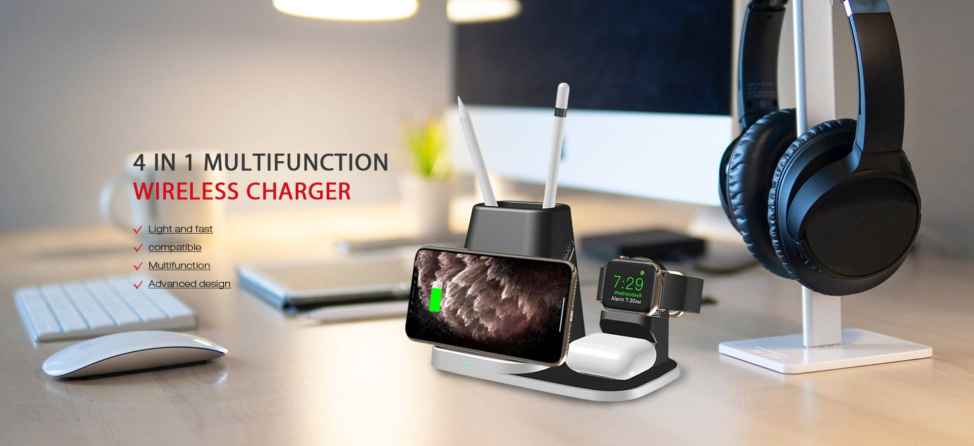 New Design 4 in 1 Offices Multifunctional Pen Holder Wireless Charger For Smartphone/iWatch/Airpods Pro